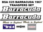 BSA B25 Barracuda 250cc Transfer Decal Set